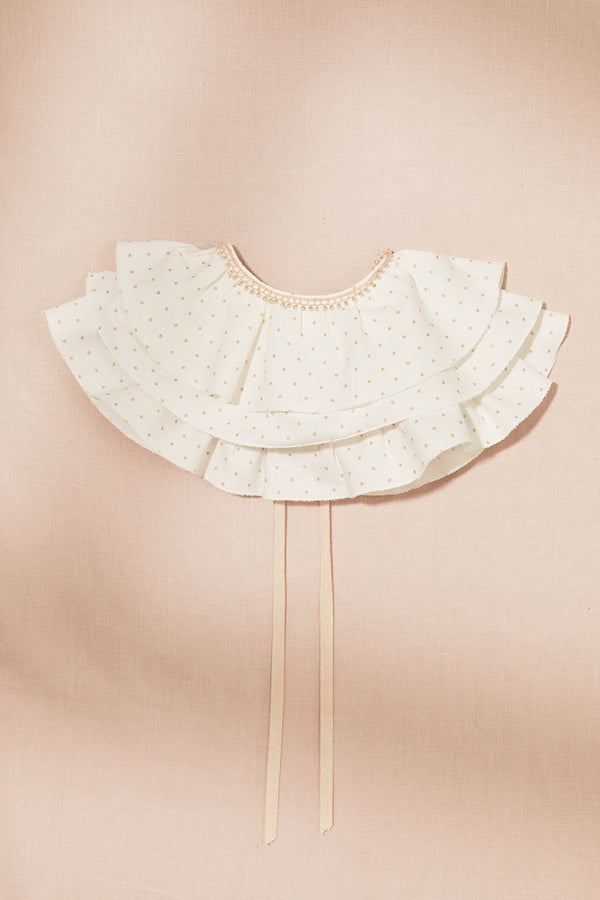Merengue Frill Cape with Golden Dots - Strawberries & Cream