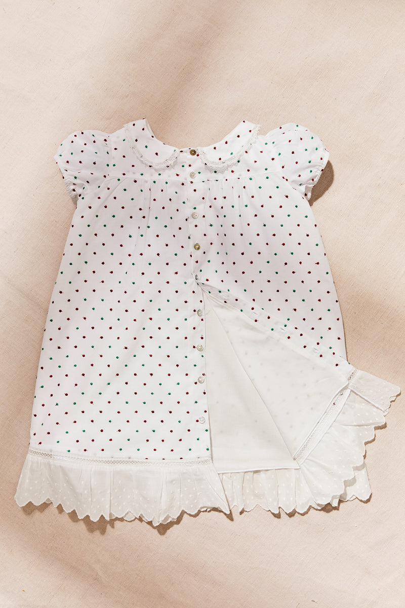 Multi Embroidered Dots Milk Dress