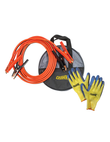 16 ft. Booster Jumper Cables 6 Ga, Gloves, High Quality Black Storage Bag