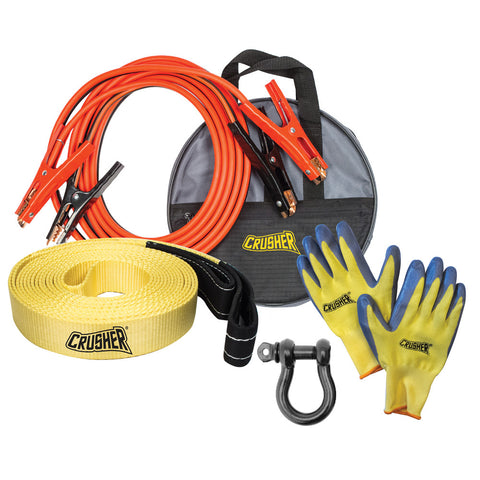 Emergency Recovery 16 ft. Booster Jumper Cables 6 Ga + 30' Tow Rope Strap + D-Ring + Gloves + High Quality Black Storage Bag