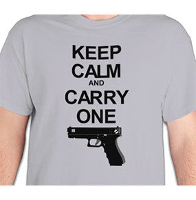 "T Shirt - ""Keep Calm And Carry One"" Glock - Ash Grey"