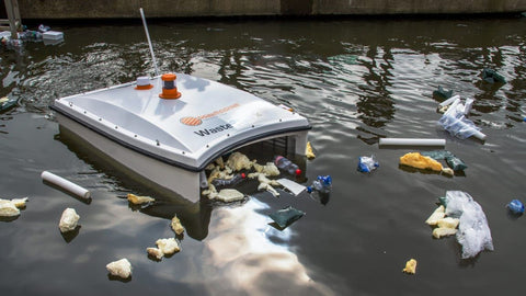 These drones look for trash in waterways—and then send sailing drones to clean it up