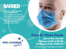Load image into Gallery viewer, Type IIR Surgical Masks as specified for Barbers and salons