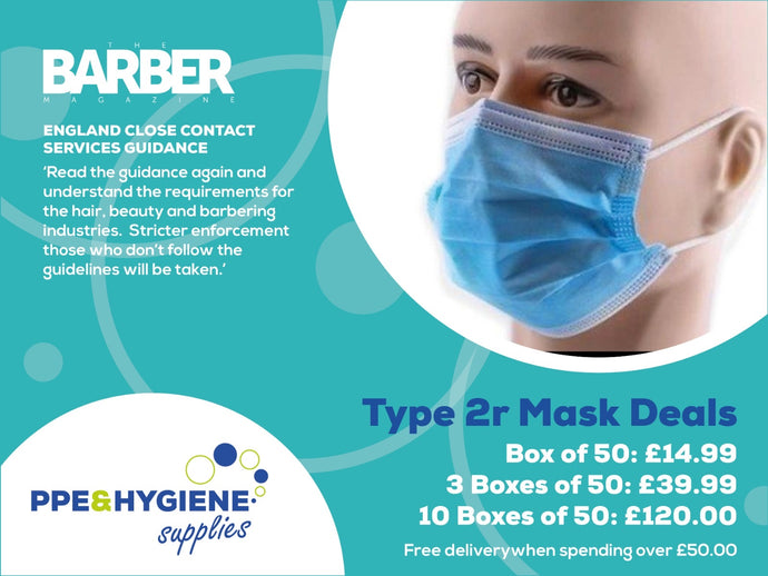 Type IIR Surgical Masks as specified for Barbers and salons