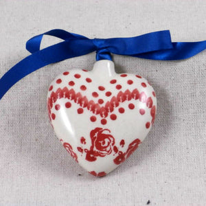 Heart Ornament Roses & Polka Dots