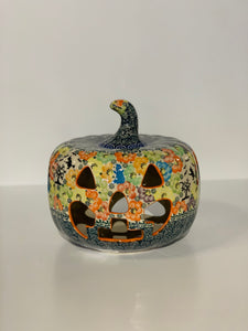 Large Polish Pottery Pumpkin Blue Ghost