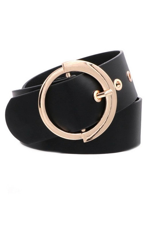 Stylish Black Vegan Leather Belt