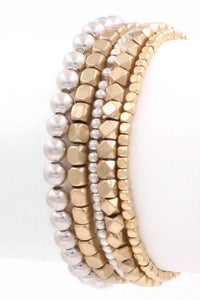 Multi Shaped Worn Two-Tone Stretch Bracelets