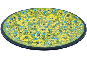 Signature Zaklady Dinner Plate Yellow Turqouise Pansy