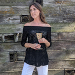 Load image into Gallery viewer, Skylar Black Off The Shoulder Flared Top