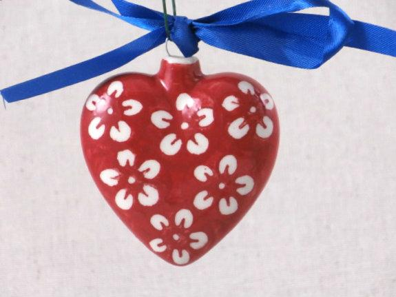 Heart Ornament Red Blossom