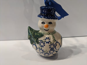 Snowman Holding Tree Ornament Forget Me Not