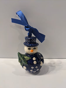 Snowman Holding Tree Ornament Blue Blossom