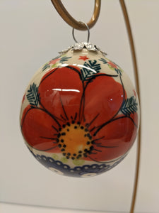 Christmas Red Poppy Red Stars Ball Ornament