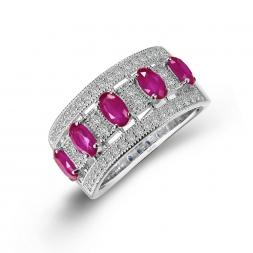 Anniversary Eternity Band Rubies & Diamonds