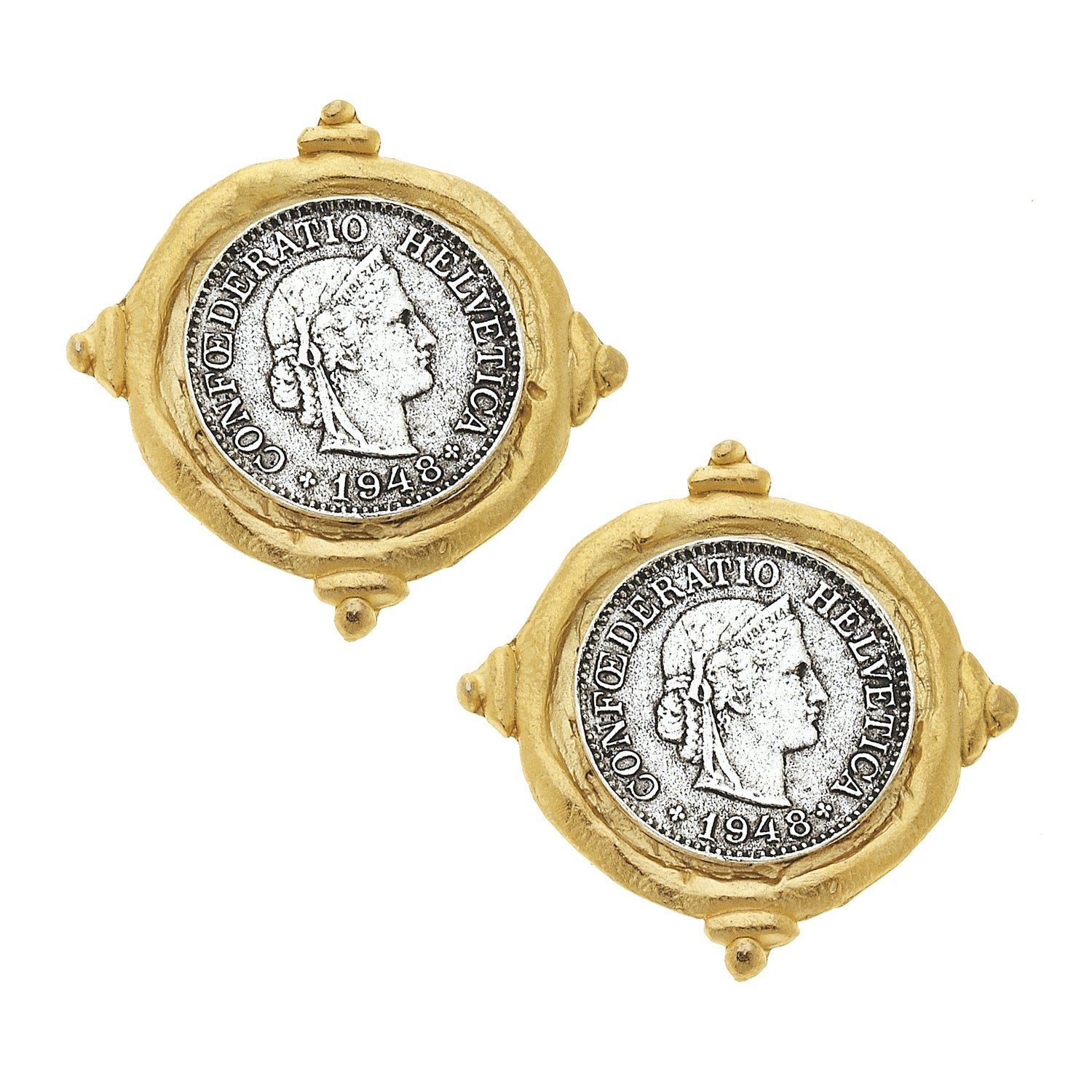 French Franc Coin Earrings
