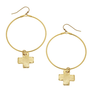 Gold Hoops with Cross Charm