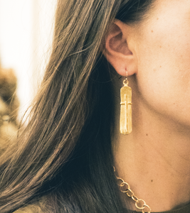 Gold Bar Cross Earrings