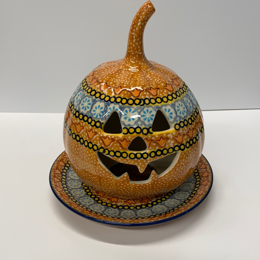 Polish Pottery Small Signed Pumpkin Ginger