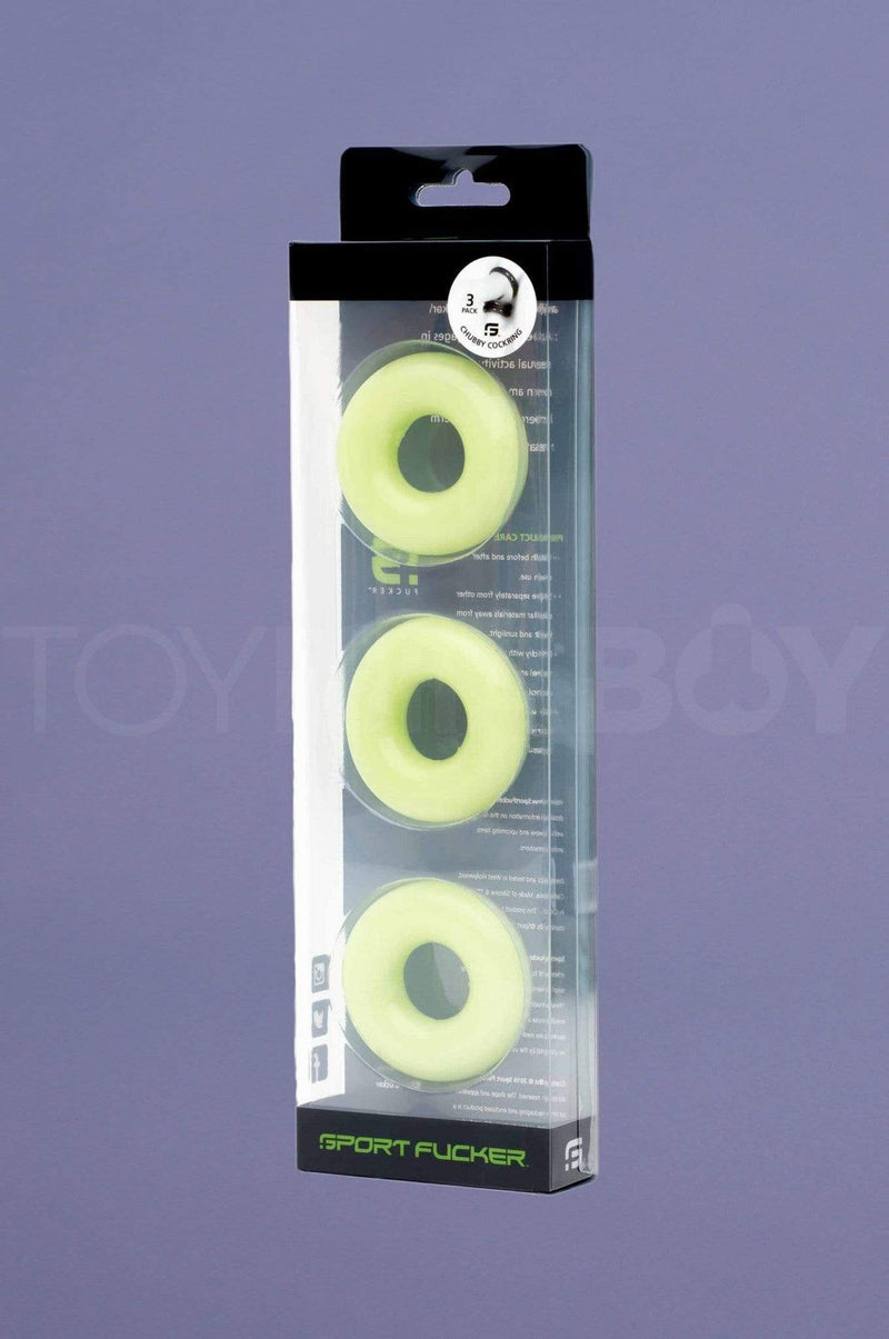 Chubby Rubber Cockring 3-Pack - Glow - TOY FOR A BOY
