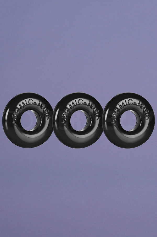 [TPR] Ringer Cock Ring 3-Pack All Black - TOY FOR A BOY