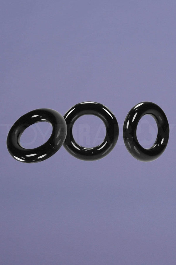 [TPR] Willy Cock Ring 3-Pack - Black - TOY FOR A BOY