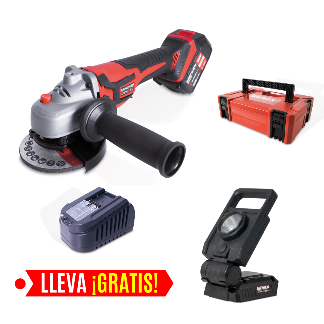 "PULIDORA INALÁMBRICA DE 4.1/2"" - 115MM + LÁMPARA LED GRATIS"