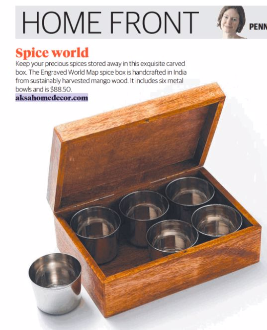 Engraved World Map Spice Rack/Box