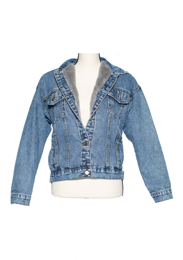 The 'Flying High' Faux Fur Denim Jacket