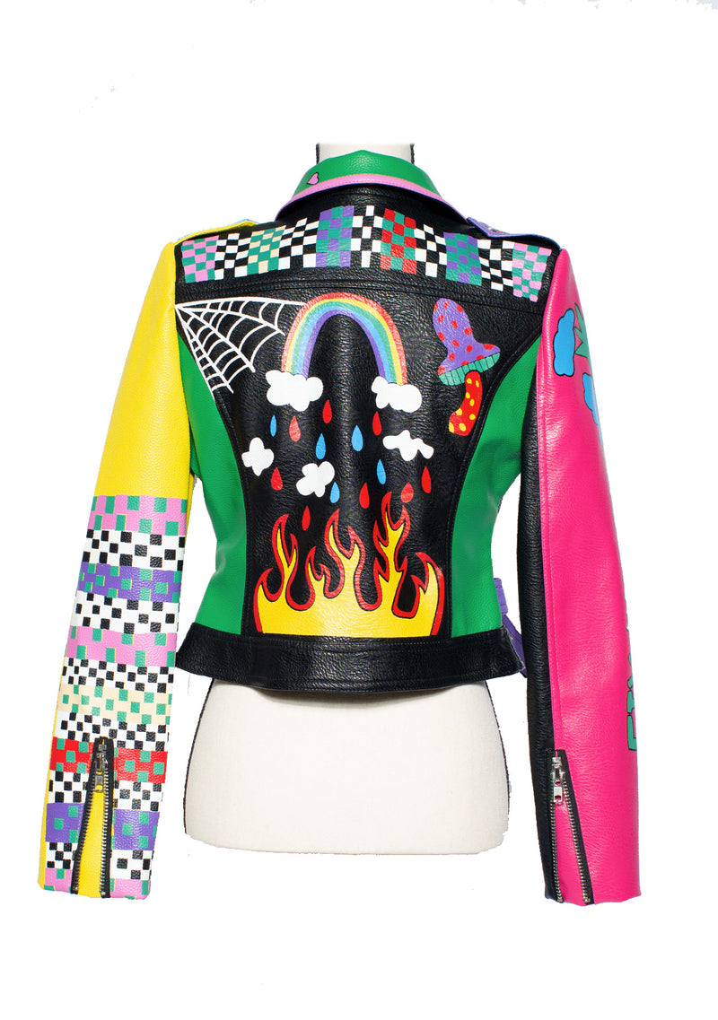 The 'Fire Rainbow' Leather Moto Jacket