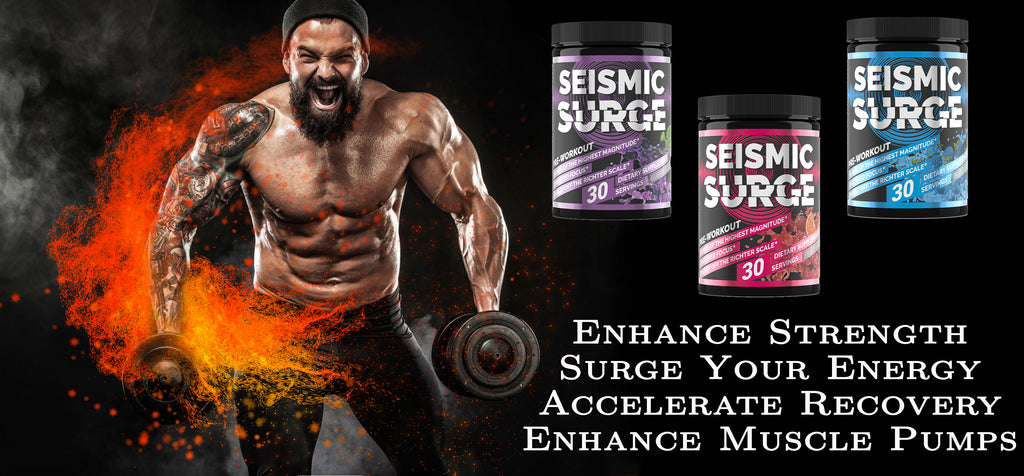 hard rock supplements, seismic surge, pre workout, muscle builder, pwo, weight lifting, body building, shred, supplements