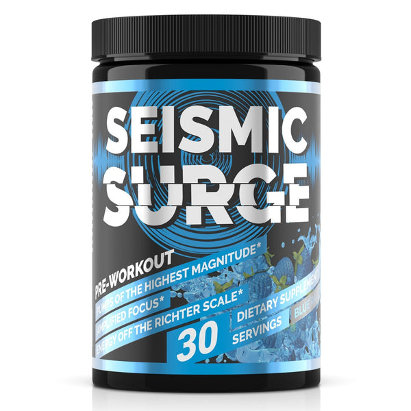 Seismic Surge by Hard Rock Supplements, hard rock supplements, seismic surge, pre workout, muscle builder, pwo, weight lifting, body building, shred, supplements