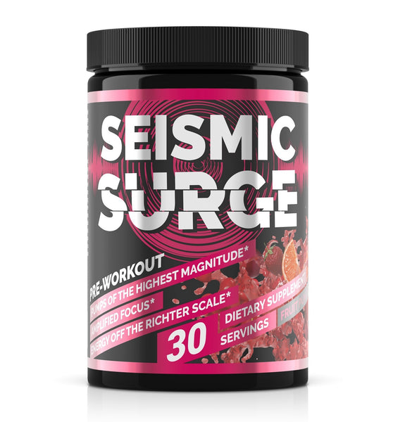 Seismic Surge Fruit Punch by Hard Rock SupplementsSeismic Surge by Hard Rock Supplements, hard rock supplements, seismic surge, pre workout, muscle builder, pwo, weight lifting, body building, shred, supplements