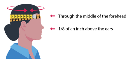 Illustration of a woman's head and a measure tape