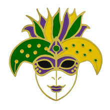 Load image into Gallery viewer, Mardi Gras Harlequin Mask Pin