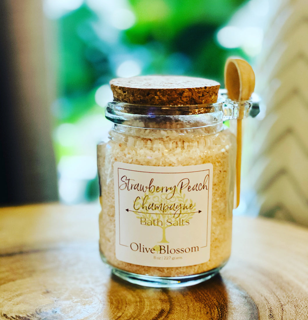 STRAWBERRY PEACH CHAMPAGNE | JAR OF 8 OZ BATH SALTS WITH SPOON