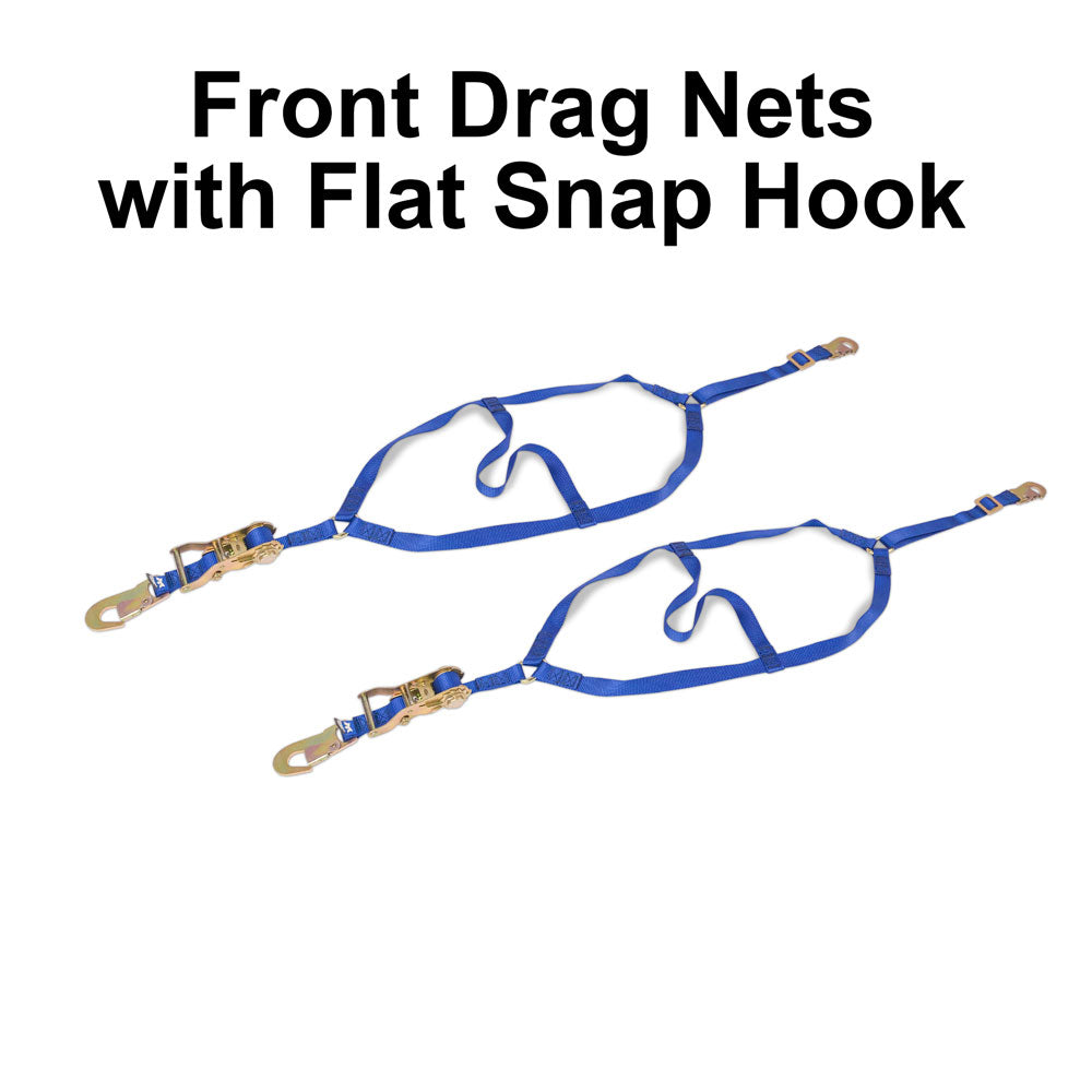 Front Drag Nets with Flat Snap Hook.