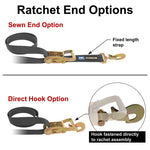 Pro Pack Premium Tie Down Strap Kit with Direct Hook Ratchet