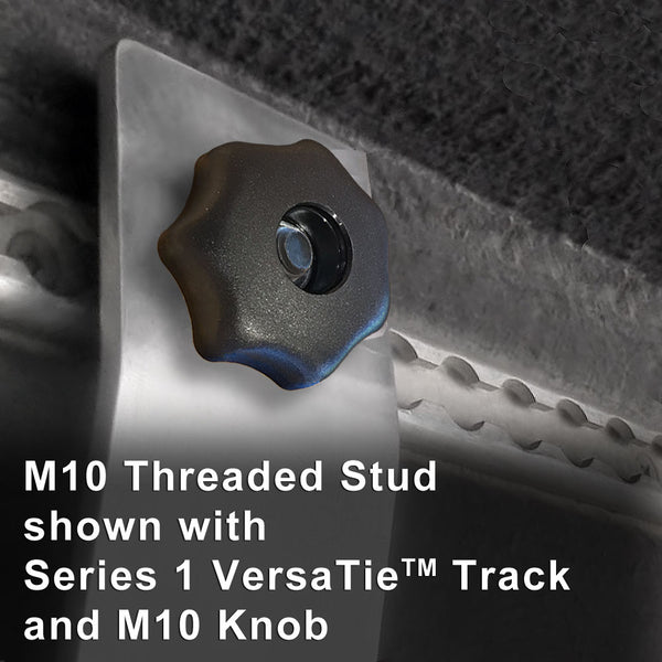 Threaded Knob attaching shelf to M10 Threaded Stud