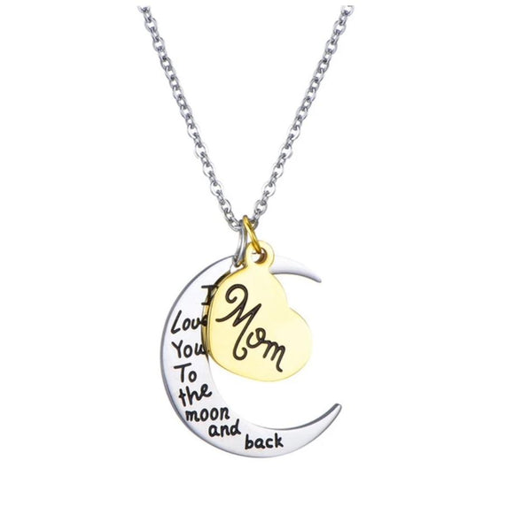 Moon & heart pendant necklace