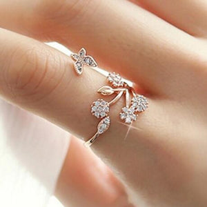 Zirconia Flowers Butterfly Resizable Rings