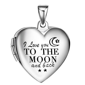 'I love you to the moon and back' photo locket pendant