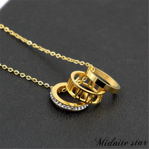 Three Circles Hollow Roman Numerals Pendant Necklace