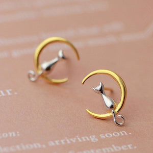 Crescent Moon Cat Earrings