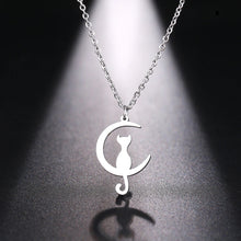 Load image into Gallery viewer, Crescent Moon Cat Necklace