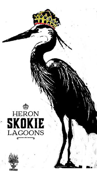Blue Heron Poster for Skokie Lagoons