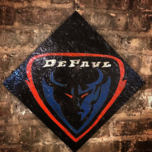 Wooden De Paul Blue Demons Sign