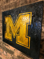 Wooden Michigan University Sign