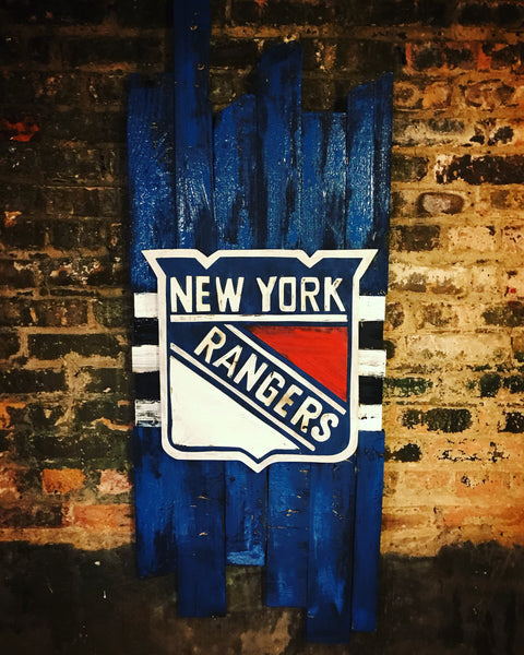 Wooden New York Rangers Sign