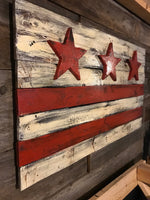 Wooden Washington DC Flag